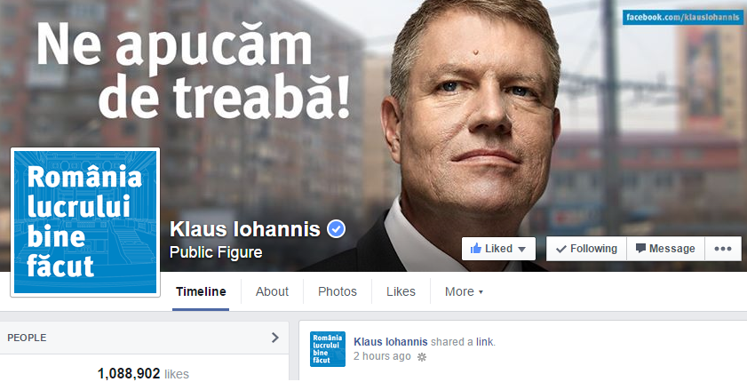 Romania's President-elect Klaus Iohannis is the first political leader in Europe with over 1 million fans on Facebook