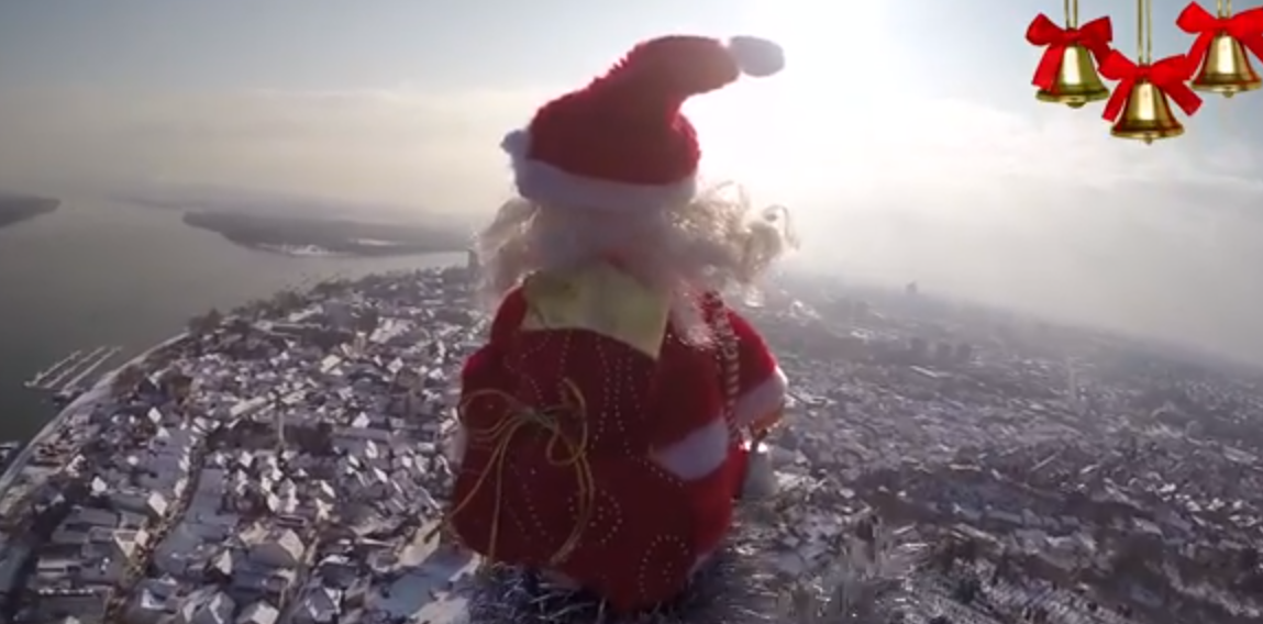 Belgrade aerial with Santa Claus