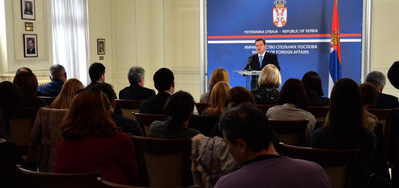 Prvi tviter prenos konferencije za novinare u Ministarstvu spoljnih poslova Republike Srbije