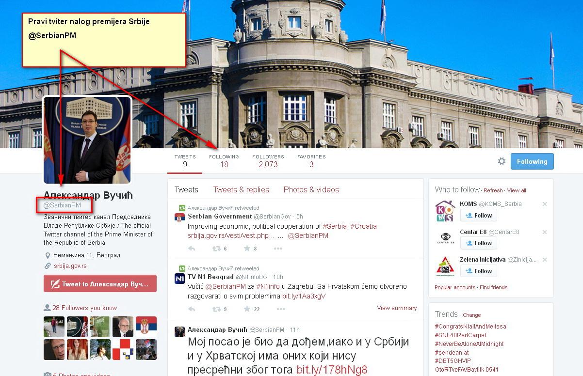 Vučić najpominjanija ličnost na Tviteru