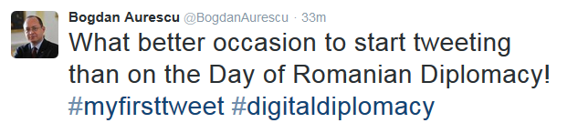 The Romanian Foreign Minister is now on Twitter