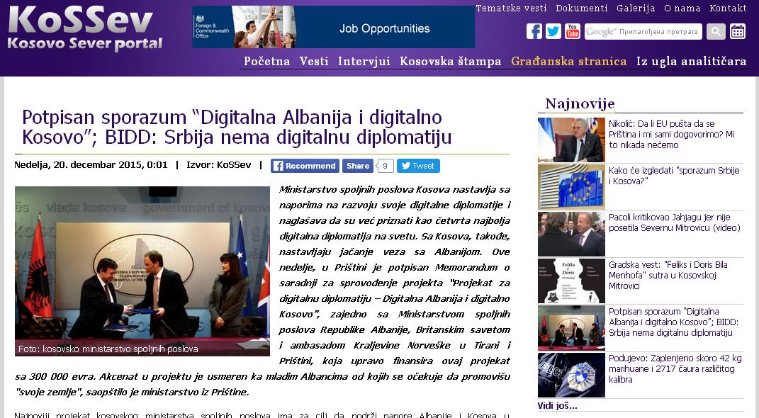 """Potpisan sporazum """"Digitalna Albanija i digitalno Kosovo""""; BIDD: Srbija nema digitalnu diplomatiju"""