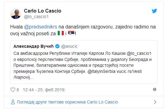 Italijanski ambasador poslao Vučiću poruku putem Tvitera