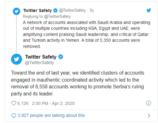 Twitter deletes 20,000 fake accounts linked to Saudi, Serbian and Egyptian governments